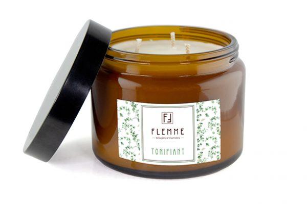 Tonifiant XL grand pommadier 500ml Bougie Artisanale Parfumée Flemme Trois Mèches