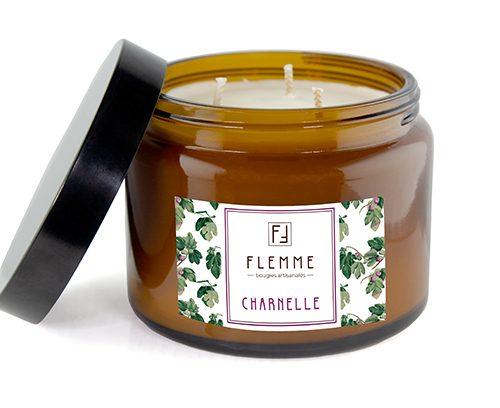 Charnelle XL grand pommadier 500ml Bougie Artisanale Parfumée Flemme Trois Mèches