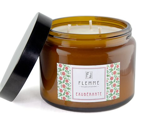 Exubérante XL grand pommadier 500ml Bougie Artisanale Parfumée Flemme Trois Mèches