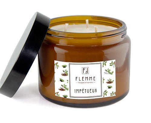 Impétueux XL grand pommadier 500ml Bougie Artisanale Parfumée Flemme Trois Mèches
