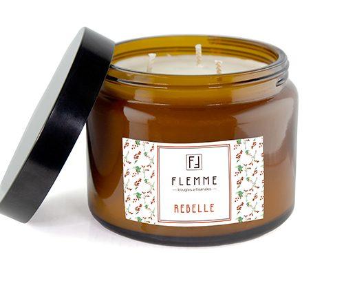 Rebelle XL grand pommadier 500ml Bougie Artisanale Parfumée Flemme Trois Mèches